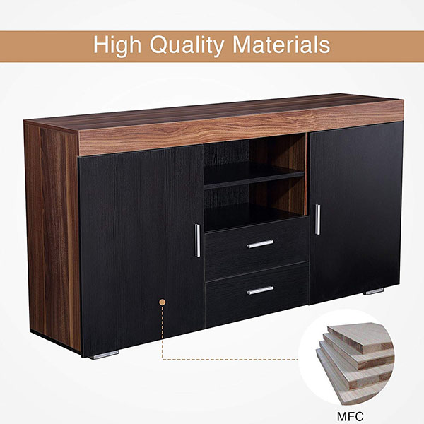 OEM/ODM Factory Television Stand - Cabinet Cupboard Sideboard Buffet High Gloss Front 2 Drawer Door Multicolor LED – Joysource