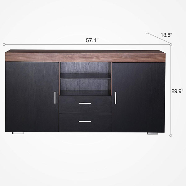 OEM Factory for Movable Tv Stand - Cabinet Cupboard Sideboard Buffet High Gloss Front 2 Drawer Door Multicolor LED – Joysource