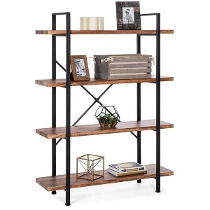 4-Shelf Industrial Open Bookshelf Furniture w/Wood Shelves, Metal Frame