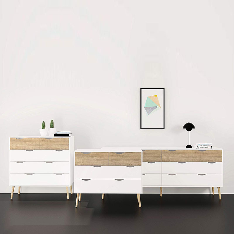 PriceList for Living Room Furniture - Tvilum 7539549ak Diana 4 Drawer Chest, White/Oak Structure – Joysource