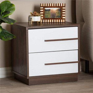Two (2) drawers,Baxton Studio 157-9526-AMZ Nightstand, White