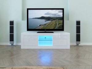 High gloss Led Light WoodenTv Stand With Showcase