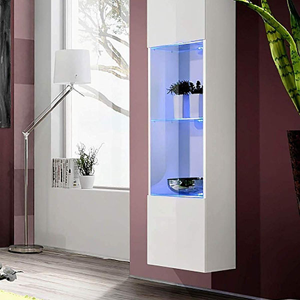 New High Gloss Door Display Cabinet Shelves Tall Cupboard Sideboard LED Lights Featured Image