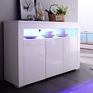 High Gloss White 3 Doors Shelf LED Sideboard Buffet Storage Cabinet Cupboard