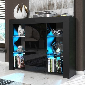 Factory Cheap Modern Kitchen Cabinets - LED Sideboard Cabinet High Gloss Door Matt Body Modern TV Unit Black White New – Joysource