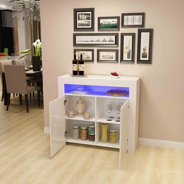 High Quality Kitchen Cabinets Design - Kitchen Buffet Cabinet,High Gloss LED Sideboard,Storage Server Table with 3 Shelves White – Joysource