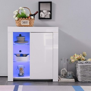 High Gloss RGB LED Sideboard Cabinet Cupboard Buffet With Door&Shelf Matt Body