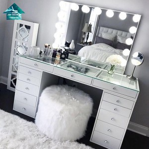 Eco-friendly customized wooden dressing table with mirror and stool