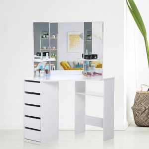 Wooden White Corner 5 Drawers Dressing Table with Stool and Mirror Set for Bedroom