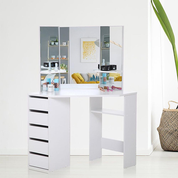 Super Purchasing for White Kitchen Cabinet - Wooden White Corner 5 Drawers Dressing Table with Stool and Mirror Set for Bedroom  – Joysource