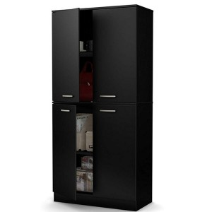 Short Lead Time for Living Room Cabinets - Tall 4-Door Storage Cabinet with Adjustable Shelves, Pure Black – Joysource