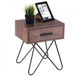 19.5″ H Multi Purpose Steel Hairpin Legs Side End Coffee Table Nightstand Storage Display w/Drawer with Ebook