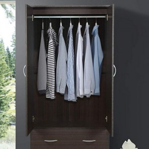 Door 2-Drawers, Mirror and Clothing Rod in Chocolate Armoire