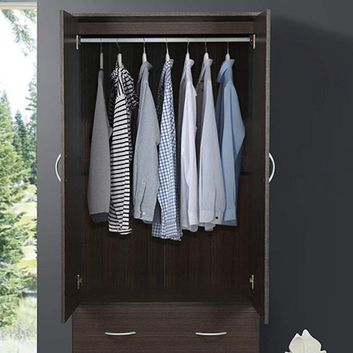 High definition Modern Bathroom Furniture - Door 2-Drawers, Mirror and Clothing Rod in Chocolate Armoire – Joysource