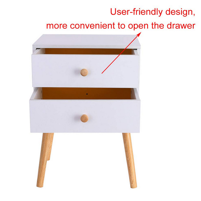 OEM Manufacturer Small Size Coffee Tea Table - White/Yellow Side End Table Nighstand with Two Drawer North American Modern Style (White) – Joysource