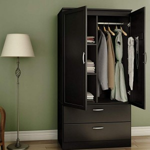 2-Door Wardrobe Armoire with Adjustable Shelves and Storage Drawers, Pure Black