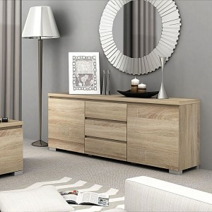 Modern wood console sideboard table with 3 drawers design