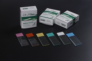 Color Frosted Microscope Slides With GROUND Edges Made From White Glass