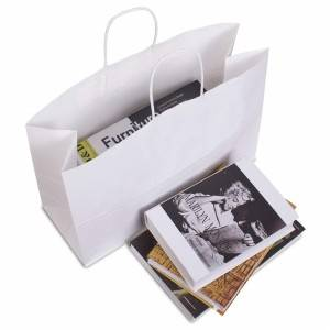 white color Kraft paper shopping bag with high quality craft paper