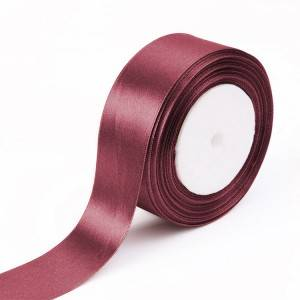 Redwish color satin ribbons with printing logo as client request