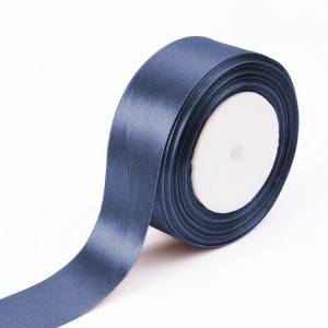 Blue color satin ribbons with customize logo