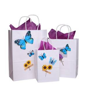 Customized White Kraft Printing Paper Shopping Bag with Firm Handle