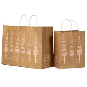 Best-Selling Oem Offset Printed Logo Stand Up Take Away Fast Food Kraft Paper Bag With Twisted Handle
