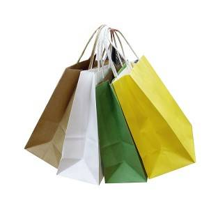 Solid Color Printed Cheap Paper Shopping Bags