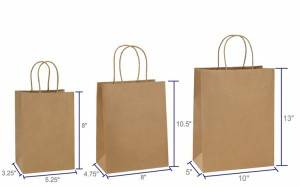 Brown color Kraft paper shopping bag with high quality craft paper