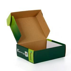 Printed corrugated paper shipping box with custom logo