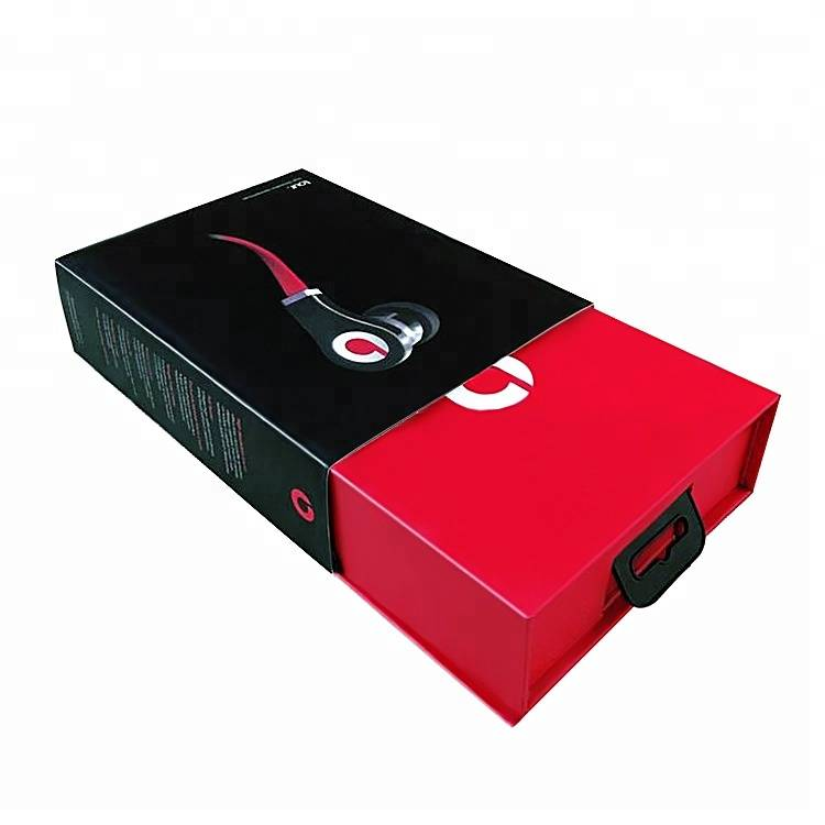 Custom earphone packaging boxes colored cardboard drawer box