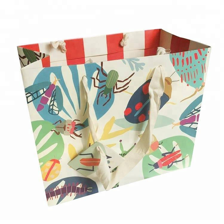 Custom colorful art paper printed shopping bag