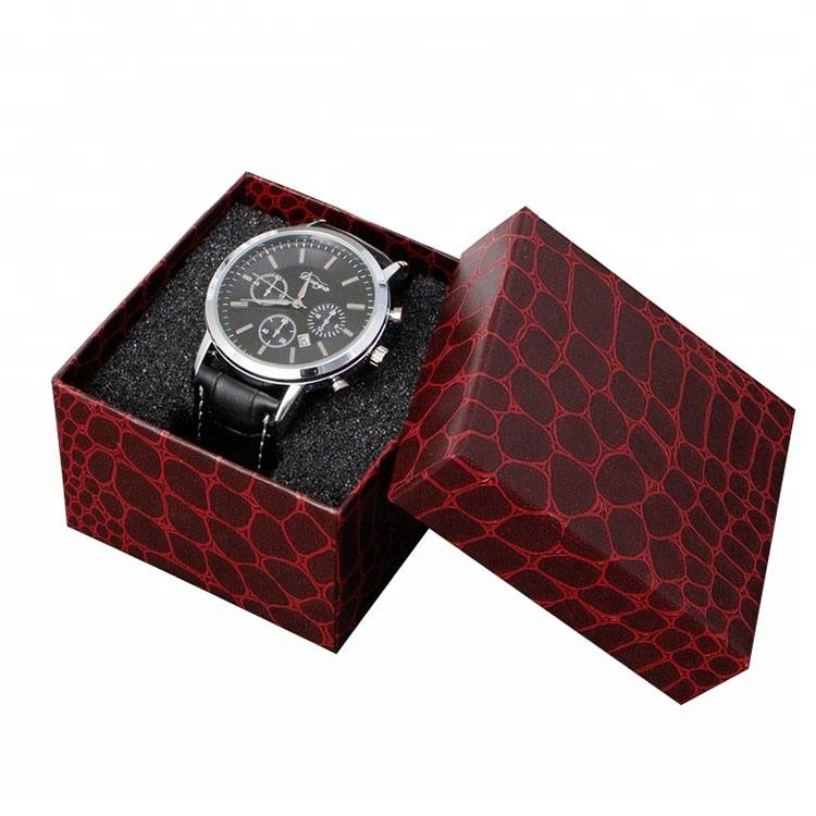 Dark red paperboard watch box packing with custom logo