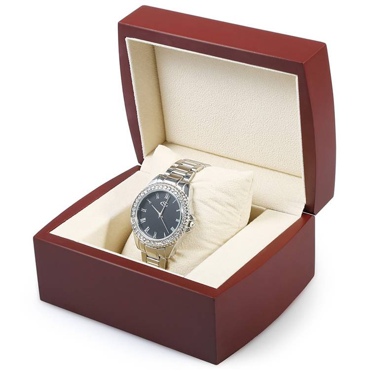 Luxury wooden dark red watch packing box with lid Featured Image