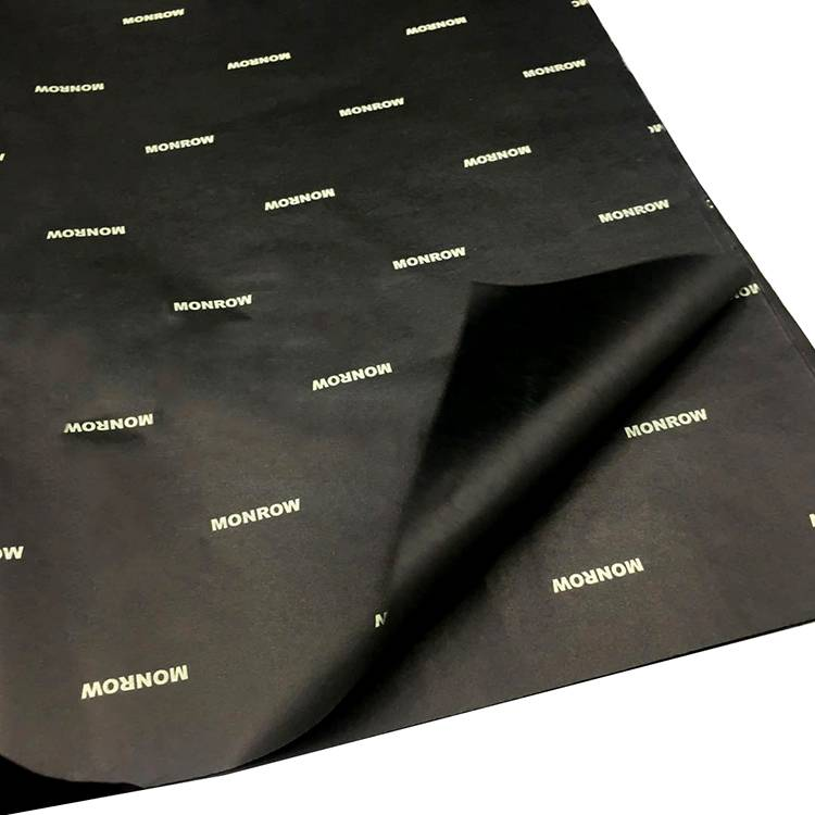 solid black tissue paper with logo gravure printing
