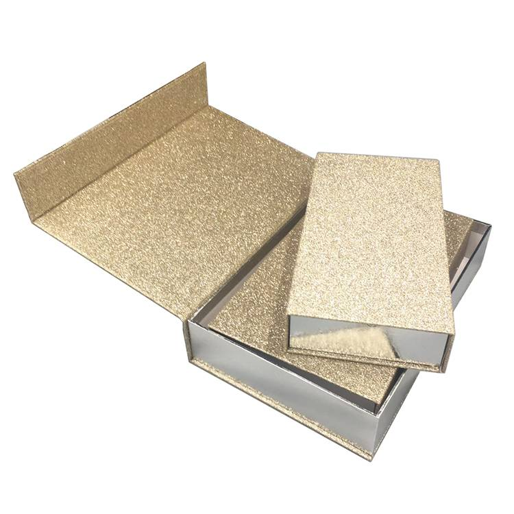 Magnetic closure glitter sparkle gift box rectangle shape custom logo wholesale