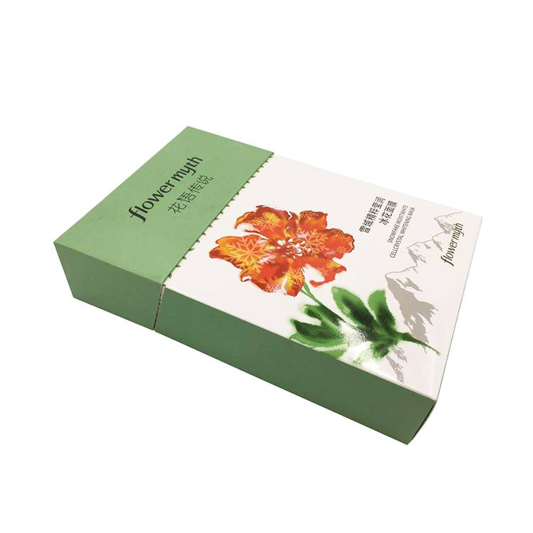 Gloss varnish cosmetic packaging folding paper box with printed logo
