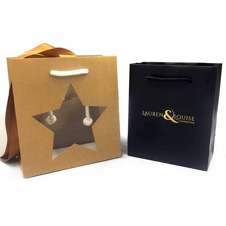 Star window design small kraft paper shopping bag with rope handle Featured Image