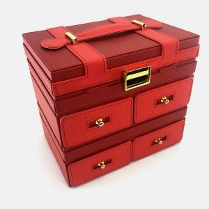 Luxury Red PU Leather Jewelry storage case wholesale
