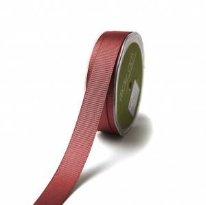 Wine red grosgrain polyester printed satin ribbon