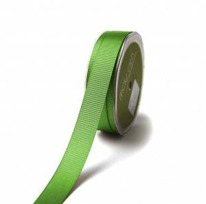 Green grosgrain polyester printed satin ribbon