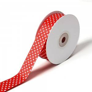 Dots printed grosgrain ribbon lovely series polyester christmas decoration ribbon roll (100 yards/roll)