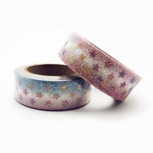 Glitter colorful paper tape with custom logo
