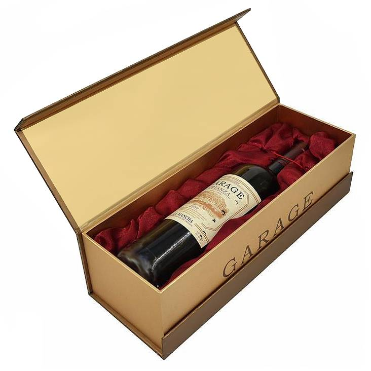 Hot-selling Custom Luxury Wood Grain Boxes Cardboard Flip Box With Metal Card 500ml/750ml Glass Bottle For Red Wine Bottle Packaging Featured Image