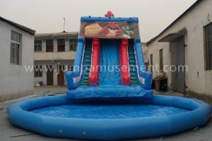 Giant Inflatable Water Slides Inflatable Wave Slide Beach Water Castle Slide  JP-WS05