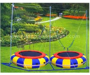 Double seats bungee for children playground equipment JP-BJ05