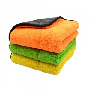 double layers and two colors microfiber coral fleece towel