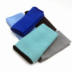 Wholesale microfiber colorful waffle towel for glass cleanning