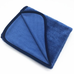 Beautiful Blue Color Single Twisted Loop Cloth Microfiber Car Drying Towel