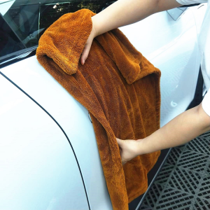 Brown Color Double Sides Twisted Loop Cloth Microfiber Drying Towel